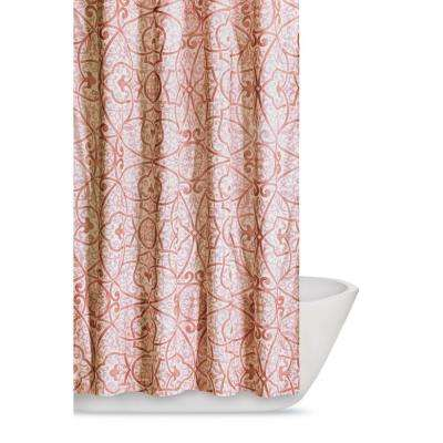 Marcello 72 in. Coral Shower Curtain