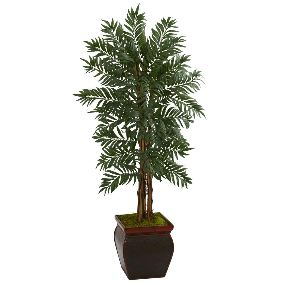 nearly natural indoor parlor palm artificial tree in wooden decorated planter 5990 the home depot. Black Bedroom Furniture Sets. Home Design Ideas