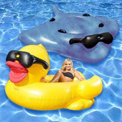Riding Derby Duck and Surfin' Stingray Swimming Pool Float Combo (2-Pack)