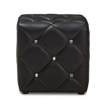 Stacey Black Tufted Ottoman