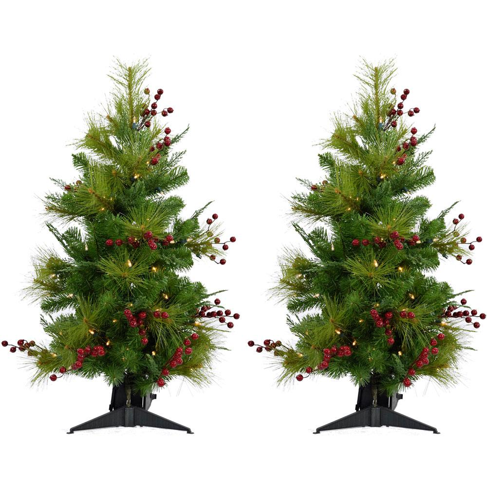 4 ft. Newberry Pine Artificial Trees with Battery-Operated LED String Lights
