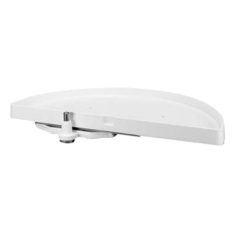 Rev-A-Shelf 5 in. H x 18 in. W x 39 in. D White Polymer 1-Shelf Half Moon Door Mount Lazy Susan and Blind Corner Optimizer