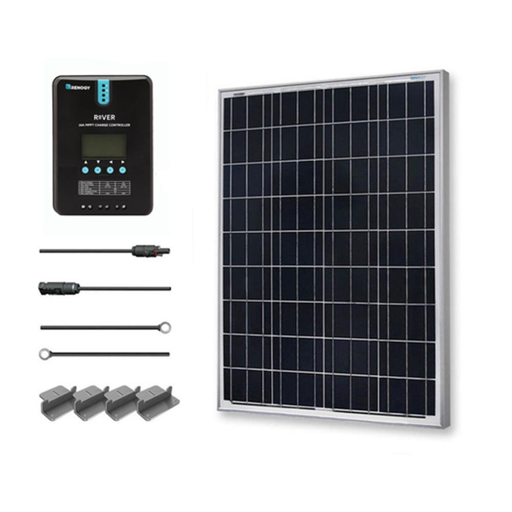 100-Watt 12-Volt Polycrystalline Off-Grid Solar Starter Kit with MPPT Charge