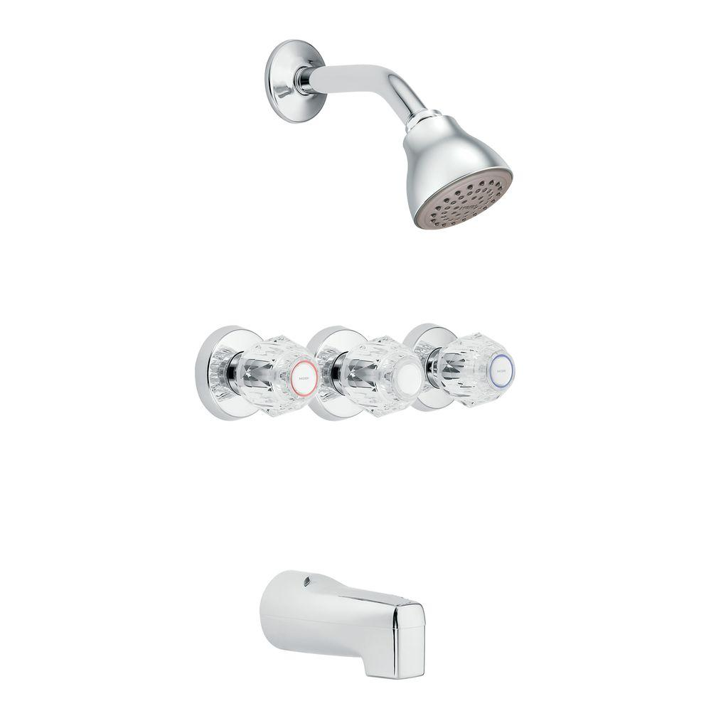 Moen Cau 3 Handle 1 Spray Tub And Shower Faucet In Chrome