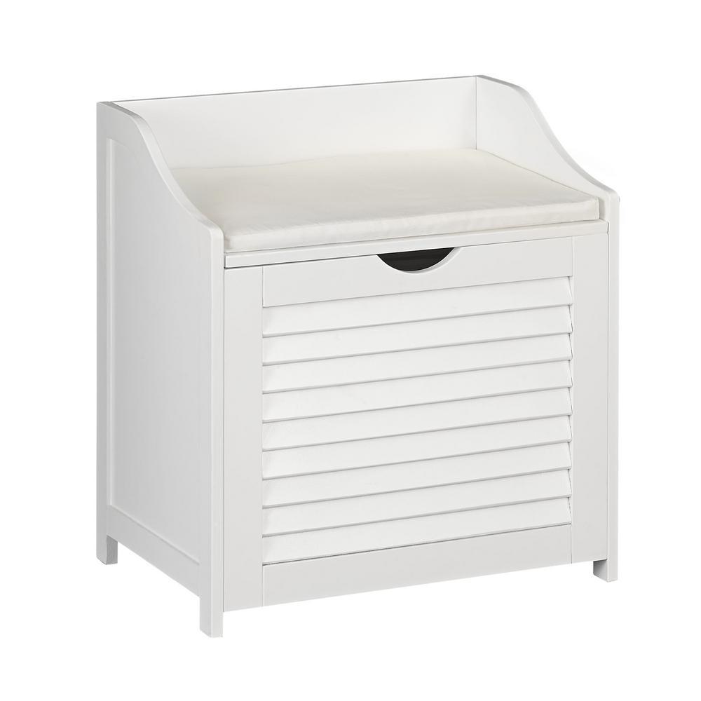 Household Essentials White Cabinet Hamper Seat, single load