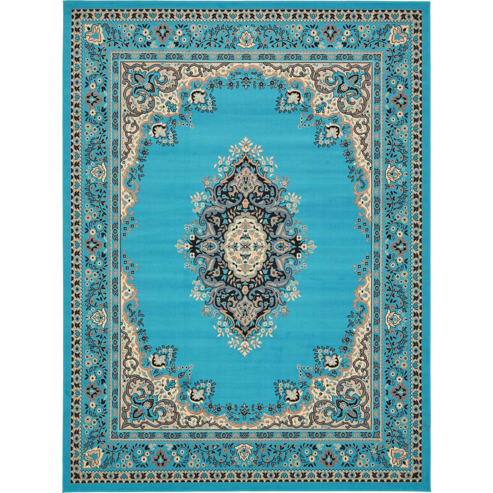 unique loom reza turquoise 9 ft x 12 ft rug 3134468 the home depot