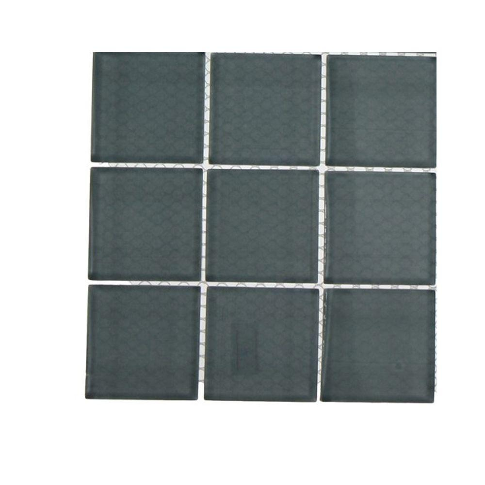 Contempo Blue Gray Polished Glass Tile - 3 in. x 6