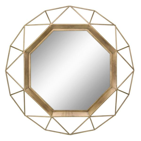 Stonebriar Collection Medium Round Gold Art Deco Mirror 29 75 In H X 29 75 In W Sb 6137a The Home Depot