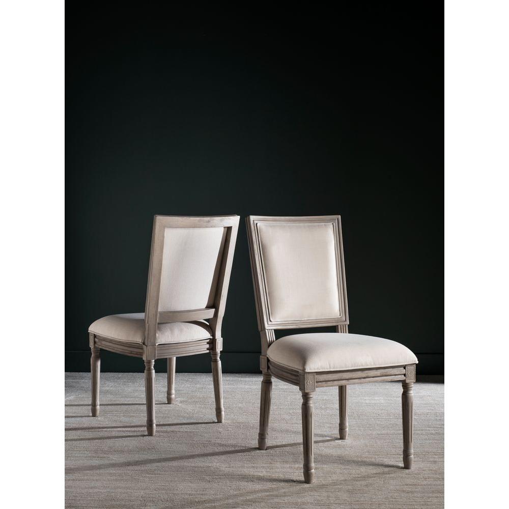 safavieh buchanan light beige linen dining chair fox6229h set2 the home depot. Black Bedroom Furniture Sets. Home Design Ideas