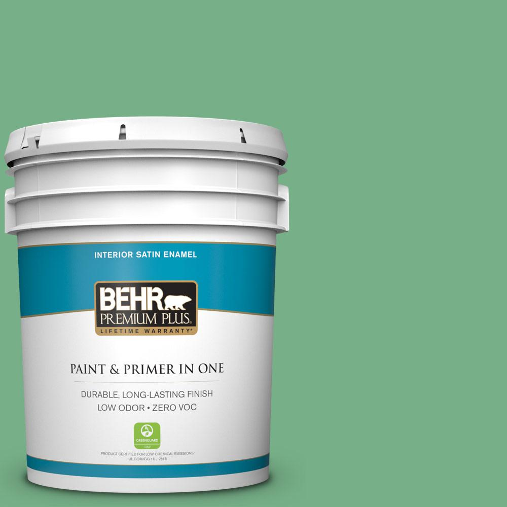 5-gal. #M410-5 Green Bank Satin Enamel Interior Paint