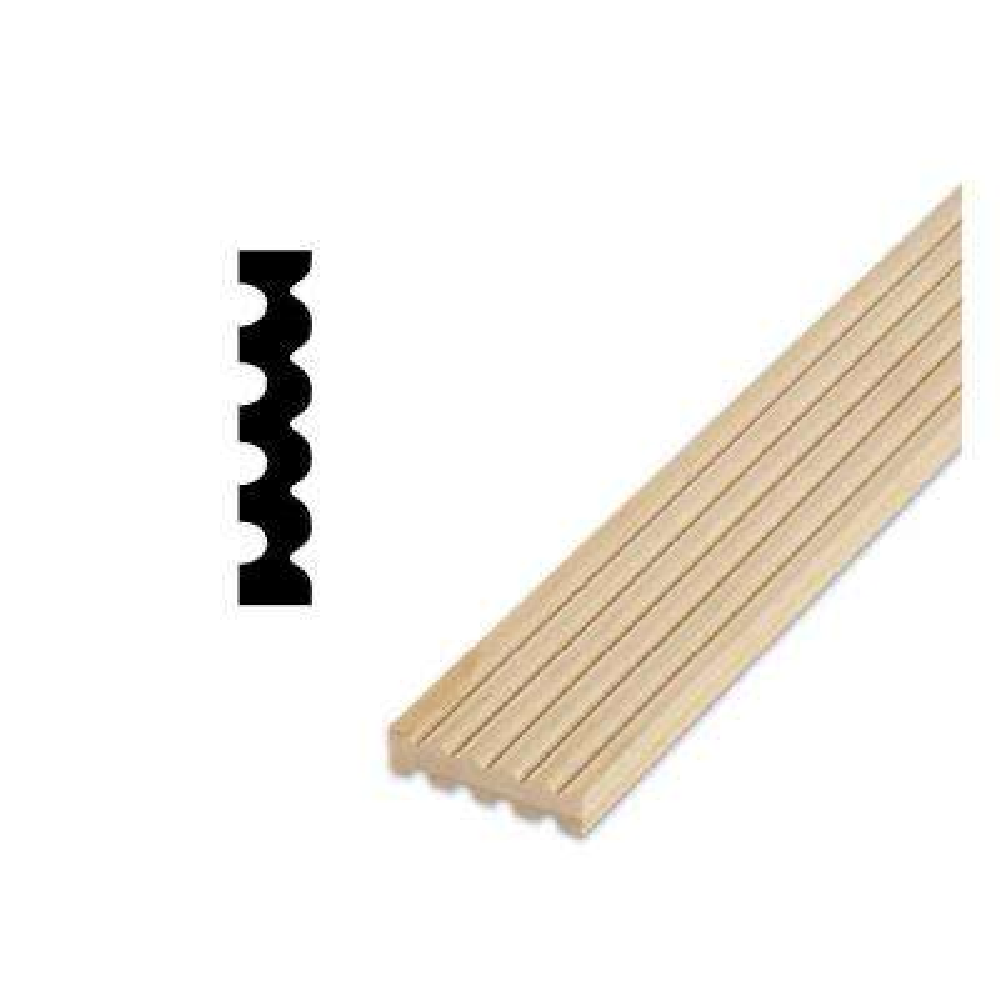 DM 225 - 1/2 in. x 2-1/4 in. Solid Pine Fluted Door and Window Casing Moulding