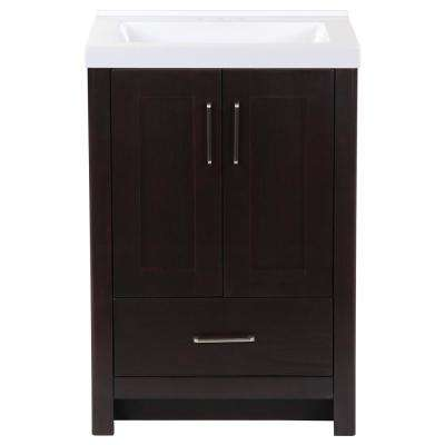 Westcourt 25 in. W x 22 in. D Bath Vanity in Chocolate with Cultured Marble Vanity Top in White with White Sink