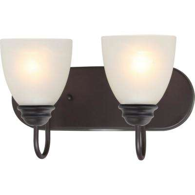 Mari 2-Light Indoor Antique Bronze Bath or Vanity Light Bar or Wall Mount with White Frosted Glass Bell Shades