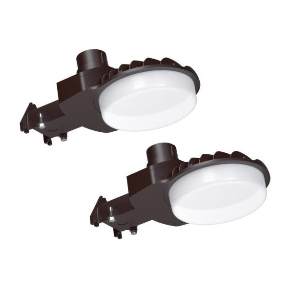 550-Watt Equivalent Bronze Integrated Outdoor LED Area Light, 8500 Lumens, Dusk to Dawn Outdoor Security Light (2-Pack)