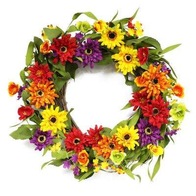 20 in. Wreath with Chrysanthemum's