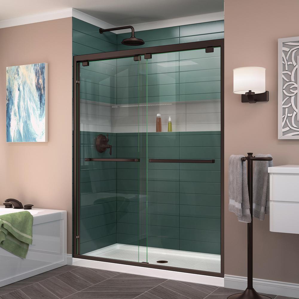 Encore 44 in. to 48 in. x 76 in. Framed Bypass Shower Door in Oil Rubbed Bronze
