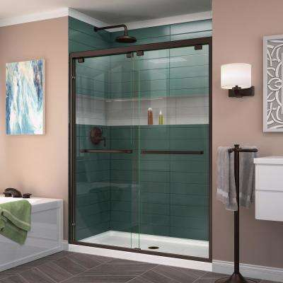 Encore 56 in. to 60 in. x 76 in. Frameless Sliding Shower Door in Oil Rubbed Bronze