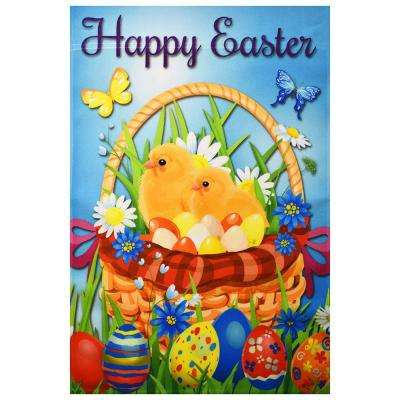 1 ft. x 1-1/2 ft. Happy Easter Chicks and Eggs in the Basket Garden Decoration Flag