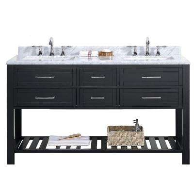 Sarasota 60 in. W x 22 in. D Vanity in Espresso with Marble Vanity Top in Carrara White with White Basin