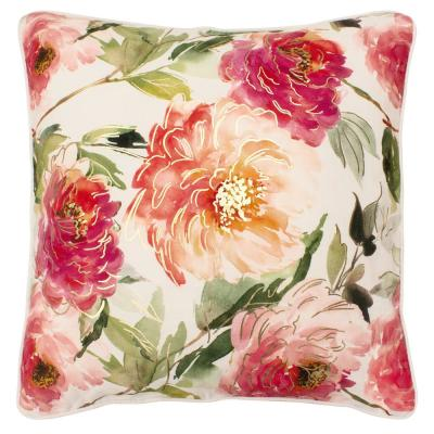 Celeste White and Pink and Green Floral Down 20 in. x 20 in. Throw Pillow
