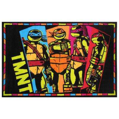Ninja Turtles Black 3 ft. x 5 ft. Area Rug