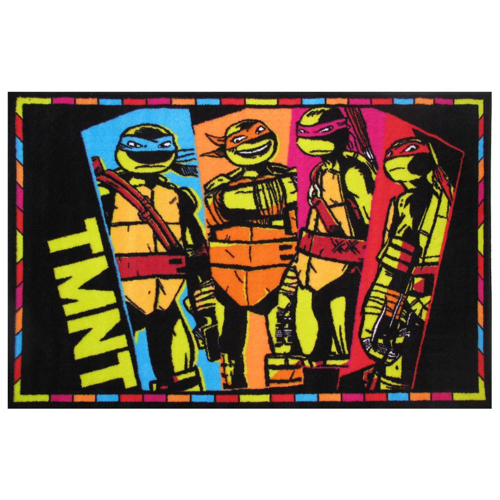 Ninja Turtles TMNT Black 19 In. x 29 In. Area Rug