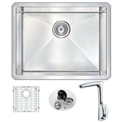 VANGUARD Undermount Stainless Steel 23 in. Single Bowl Kitchen Sink and Faucet Set with Timbre Faucet in Brushed Satin
