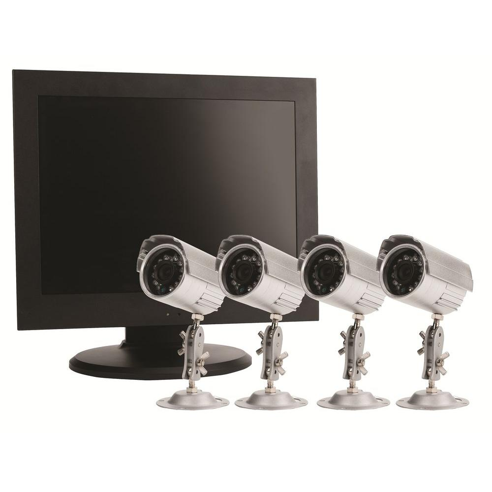 First Alert 4 CH 500 GB Hard Drive Surveillance System with (4) 400 TVL Cameras and 15 in. Monitor-DISCONTINUED