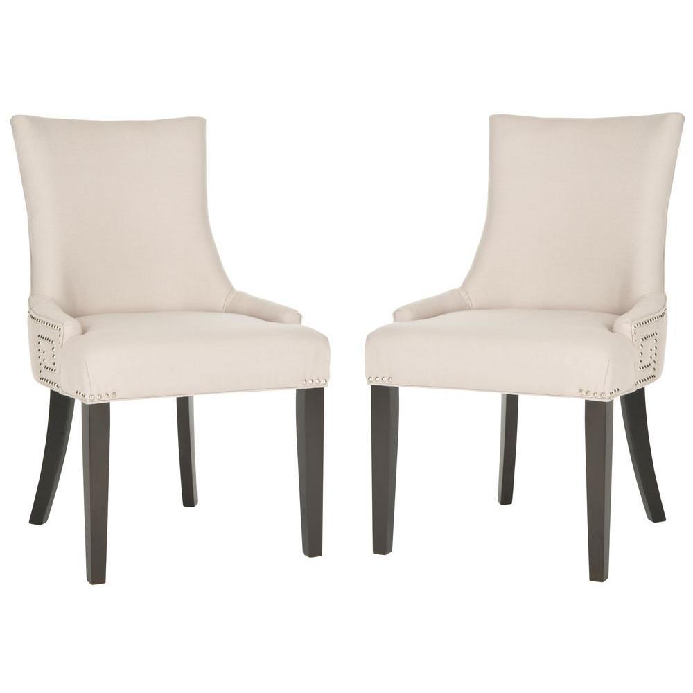 safavieh gretchen taupe espresso linen side chair set of 2 mcr4718a set2 the home depot. Black Bedroom Furniture Sets. Home Design Ideas