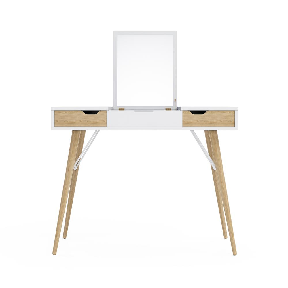 Blythe Vanity Console in White with Natural Wood