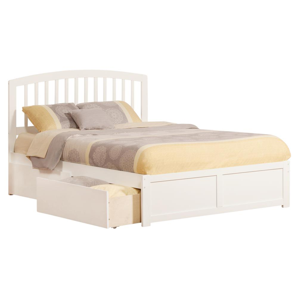 Atlantic Furniture Richmond White Queen Platform Bed with Flat Panel ...