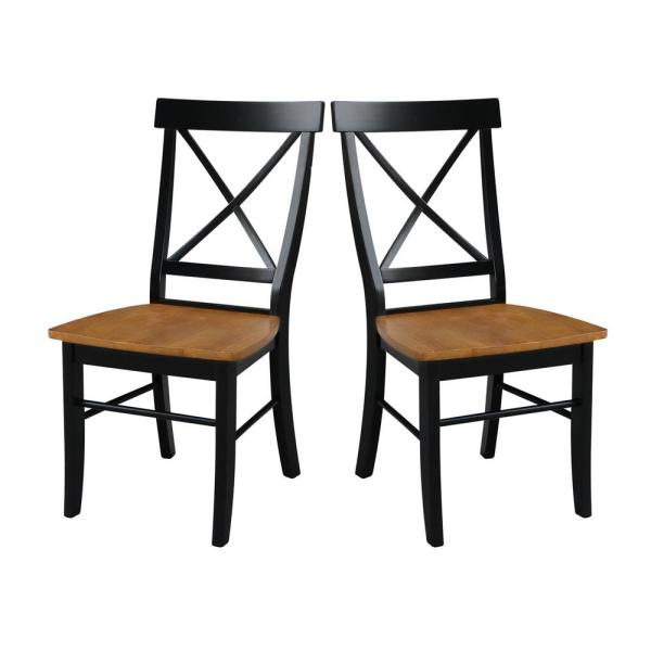 Black and Cherry Wood X Back Dining Chair (Set of 2)
