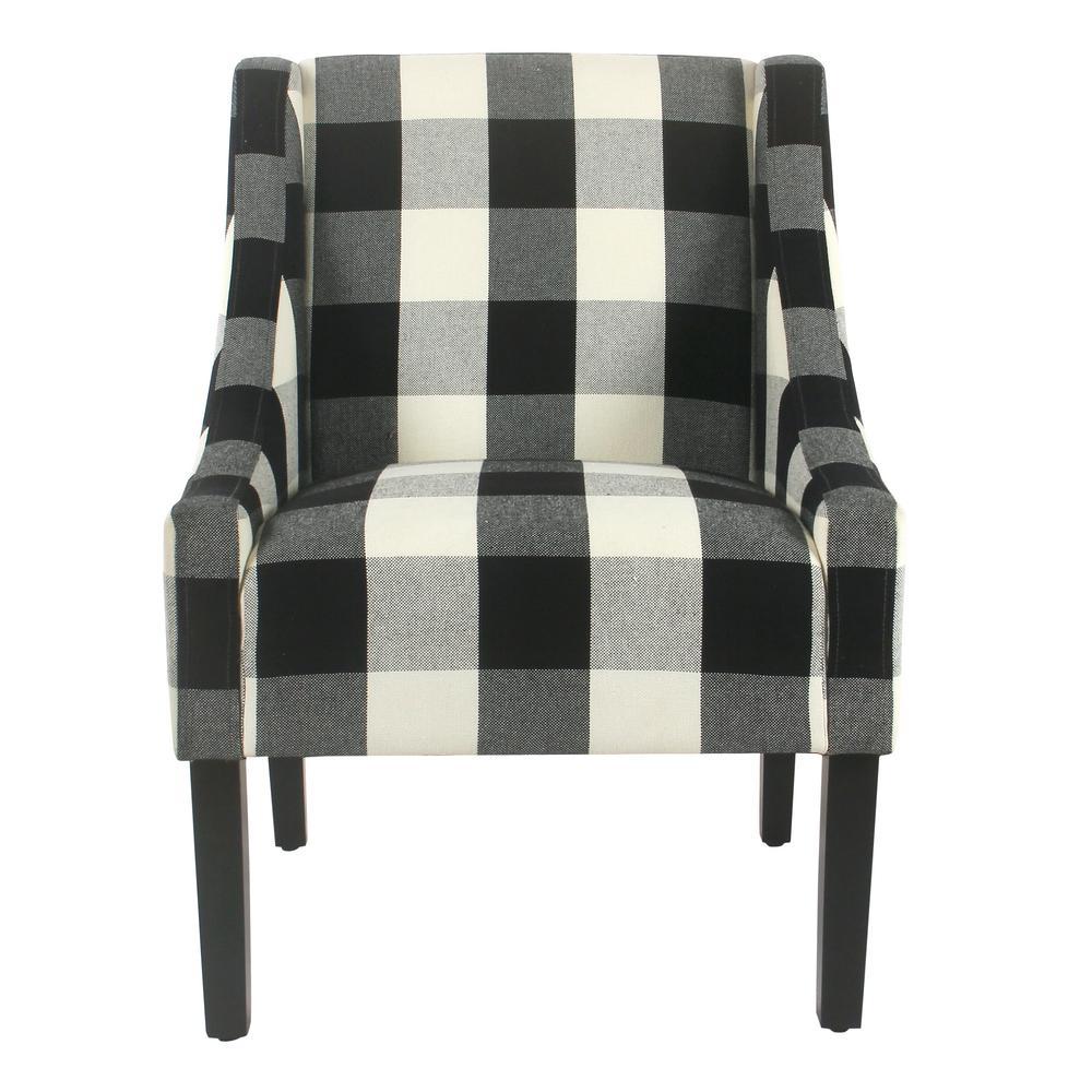 Homepop Buffalo Blue Plaid Modern Swoop Arm Accent Chair