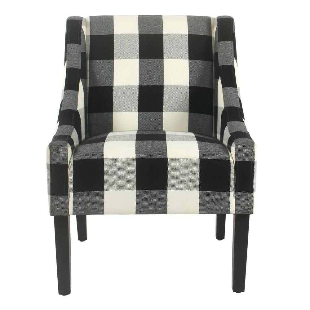 Buffalo Blue Plaid Modern Swoop Arm Accent Chair