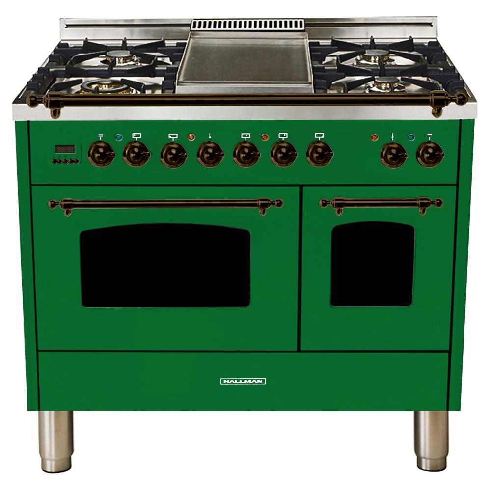 40 in. 4.0 cu. ft. Double Oven Dual Fuel Italian Range True Convection,5 Burners, LP Gas, Bronze Trim/Emerald Green