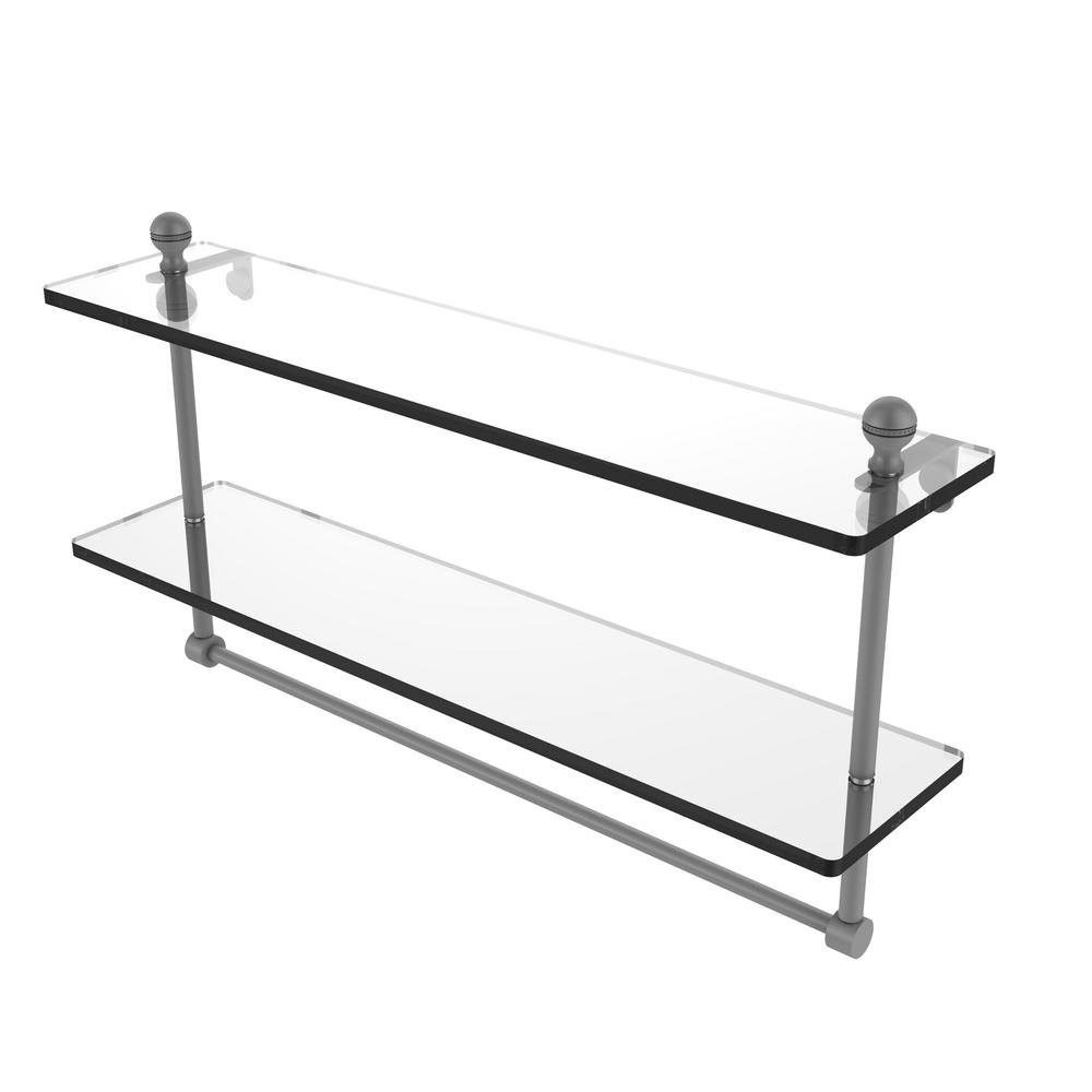 . Allied Brass Mambo Collection 22 in  Two Tiered Glass Shelf with Integrated  Towel Bar in Matte Gray