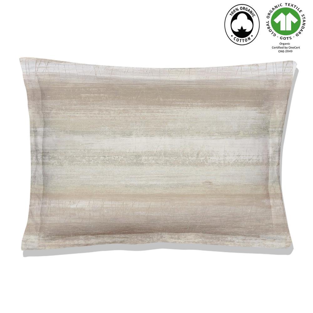 Coastline Reversible Print Beige 100% Organic Cotton Queen Sham (Set of 2)