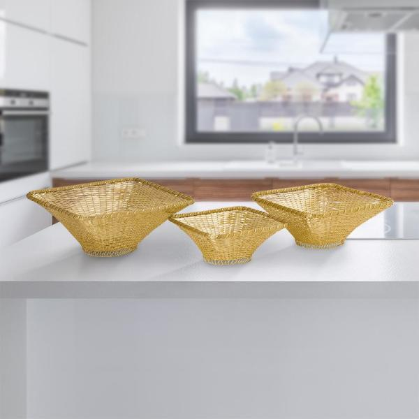 Gold Wire Baskets (Set of 3)