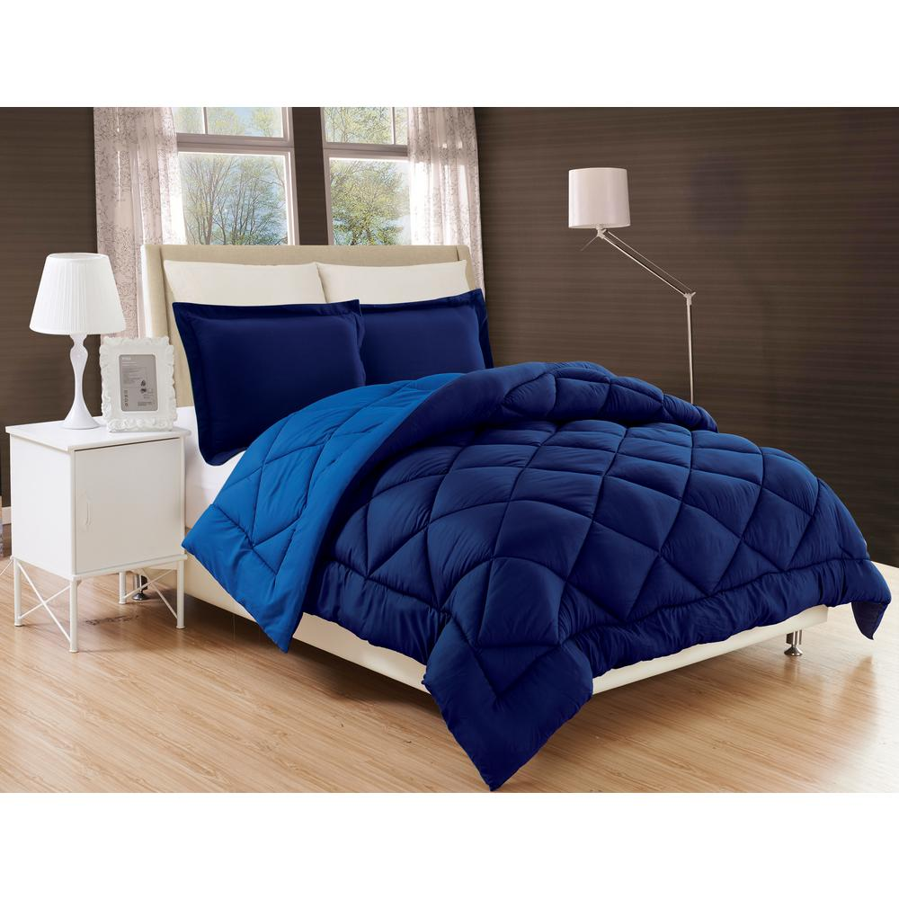 Down Alternative Navy and Light Blue Reversible King Comforter Set