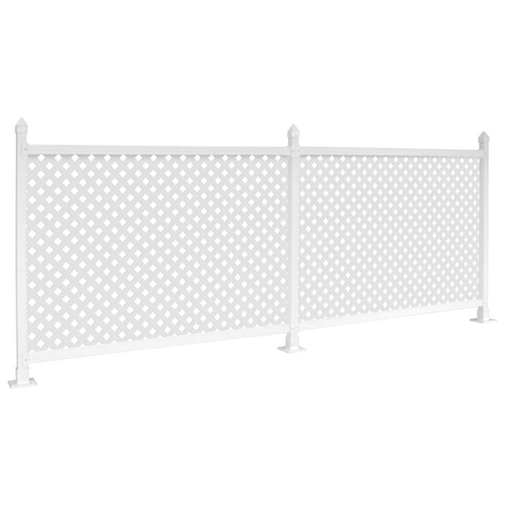 SnapFence 3 ft. x 8 ft. White Vinyl Fence Starter Kit with Lattice
