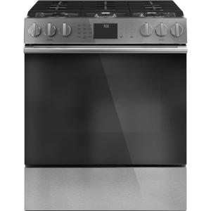 30 in. 5.6 cu. ft. Slide-In Gas Range with Self-Cleaning Convection Oven in Platinum Glass