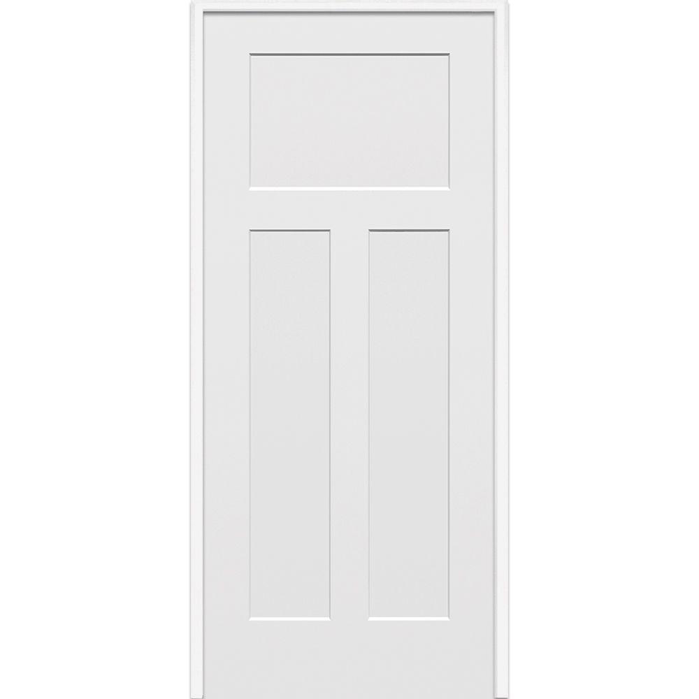 MMI Door 36 in. x 80 in. Smooth Cratsman 3-Panel Right-Hand Solid Core Primed Molded Composite Single Prehung Interior Door