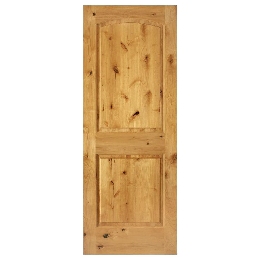 Steves & Sons 24 in. x 80 in. Rustic 2-Panel Arch Solid Core Knotty Alder Interior Door Slab