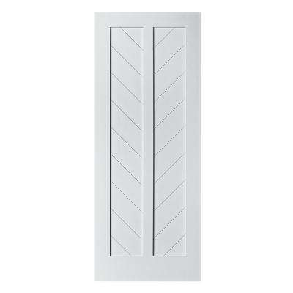 37 in. x 84 in. Chevron MDF Primed White Interior Barn Door Slab