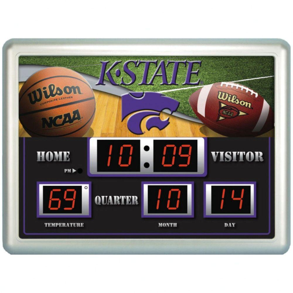 null Kansas State University 14 in. x 19 in. Scoreboard Clock with Temperature