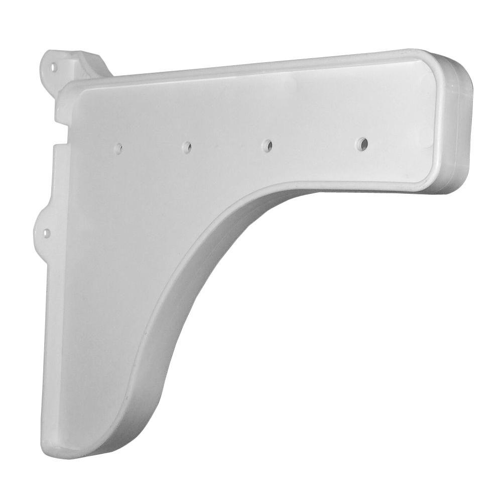 12 in. x 10 in. White End Bracket for Shelf (for