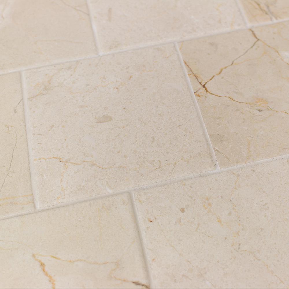 splashback tile brushed travertine marble floor and wall tile 4 in x 4 in tile sample. Black Bedroom Furniture Sets. Home Design Ideas