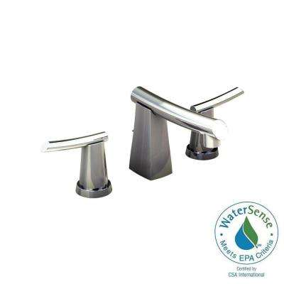 High Quality Widespread 2 Handle Mid Arc Bathroom Faucet With Metal