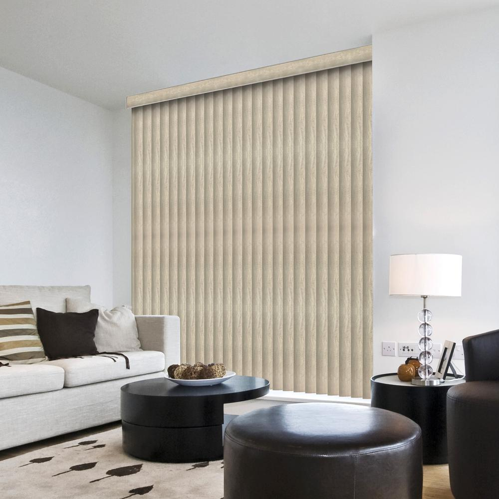 Hampton Bay 3.5 in. W x 75.5 in. L Marble Gray 3.5 in. Vertical Blind/Louver Set (9-pack)