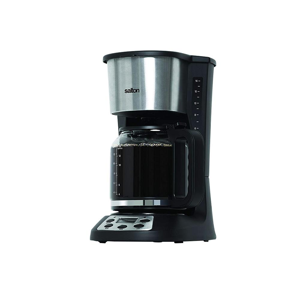 14-Cup Jumbo Java Coffee Maker, Black This 14-Cup Salton JUMBO JAVA Coffee Maker has a 24-hour programmable timer for convenience. The coffee maker includes a keep-warm plate that maintains the ideal drinking temperature. It is rust-free and durable and fits seamlessly in your existing decor. Color: Black.